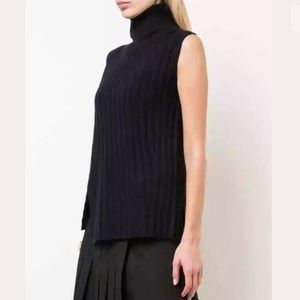 Vince Small S Turtleneck Navy Sweater Sleeveless